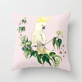 Sulphar Crested Cockatoo Gum Flower Pink Throw Pillow