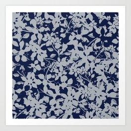 Blue and Grey Floral Pattern - Broken but Flourishing Art Print