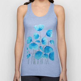 blue poppy field watercolor Unisex Tank Top