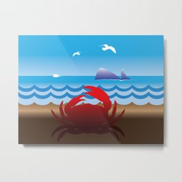 Crab Whale Watch Metal Print
