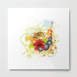 Golden disco ball and red hibiscus Metal Print
