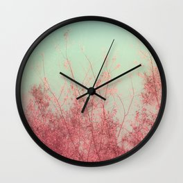 Harmony (Mint Blue Sky, Coral Pink Plants) Wall Clock