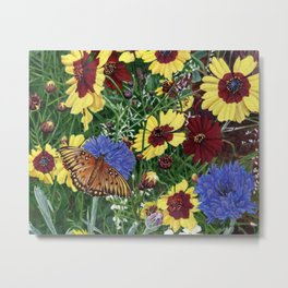 Butterfly And Wildflowers Garden Floral 2, Spring Butterflies Metal Print