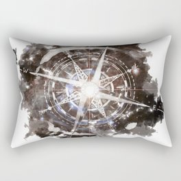 Watercolor Space Compass Rectangular Pillow