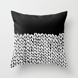 Half Knit  Black Throw Pillow