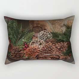 Holly And Pine Cones Rectangular Pillow