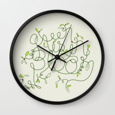 Green is in Bloom Wall Clock