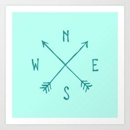 Find My Way \\ Teal Compass Art Art Print