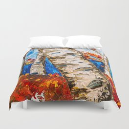 BIRCHES IN RED Duvet Cover