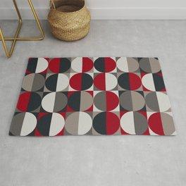semi circles_red black white gray Rug