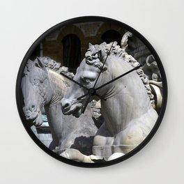 Horses Of Neptunes Fountain , Florence Italy Wall Clock