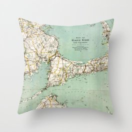 Cap Cod and Vicinity Map Throw Pillow