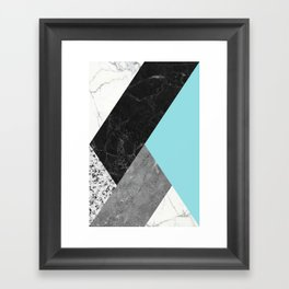 Black and White Marbles and Pantone Island Paradise Color Framed Art Print