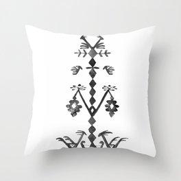 Tree of Life Black White Tribal Ethnic Kilim Motif Throw Pillow