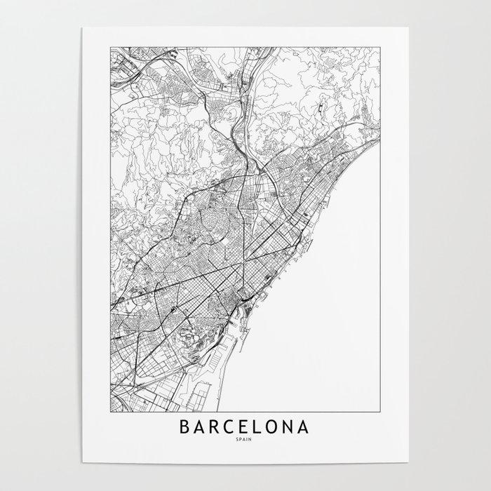 Barcelona White Map Poster