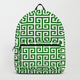 Green and White Greek Key Pattern Backpack