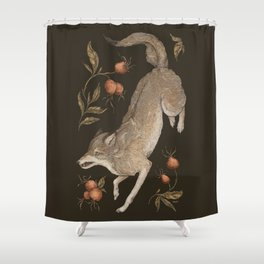 The Wolf and Rose Hips Shower Curtain