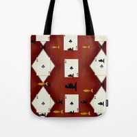 poker Tote Bags featuring Poker Sharks by Pepita Selles