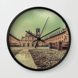 The stunning Piazza Ducale in Vigevano in autumn while raining Wall Clock