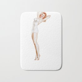 Retro Pin Up Girls Red Head on Her Tippy Toes Bachelor Party Pinup Girl Bath Mat