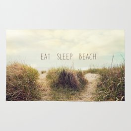 eat sleep beach Rug