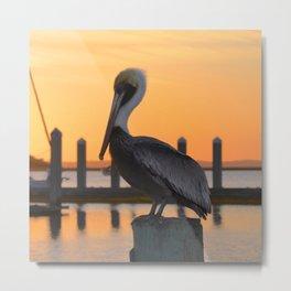 sunset pelican Metal Print