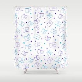 Classic Book Doodles Purple & Blue Shower Curtain