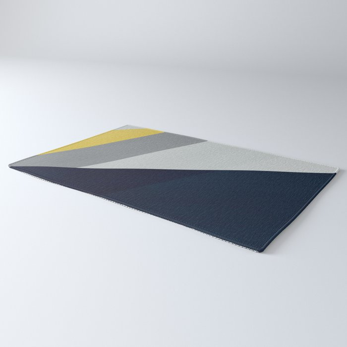 Paint blocks mid century modern textured art stripes Rug