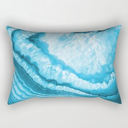 Blue & White Geode Rock Agate Slice Rectangular Pillow