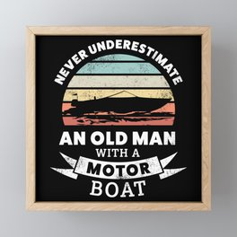 Funny Old Man with a Motor Boat Gift Framed Mini Art Print