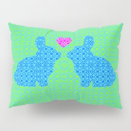 Blue and Green Digital Pattern with Pair of Bunnies in Love with Pink Heart Pillow Sham