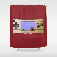 gameboy Shower Curtains featuring Gameboy Micro Classic by alifart