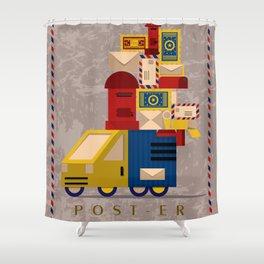 Postman's Post-er poster Shower Curtain