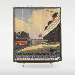 Vintage poster - Cie Gle Transatlantique Shower Curtain
