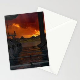 Drevos - Sci Fi - Sunset - Science Fiction - ZG 3D Stationery Cards