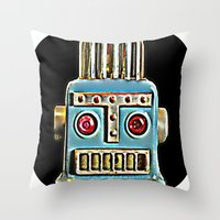 robot Throw Pillows featuring Robot by Silvio Ledbetter