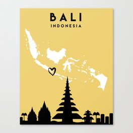 BALI INDONESIA LOVE CITY SILHOUETTE SKYLINE ART Canvas Print