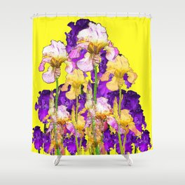 Purple Yellow & Purple Iris Flowers Shower Curtain