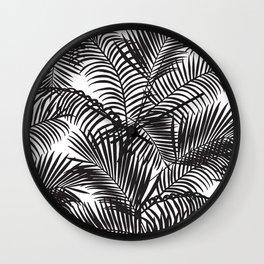 Modern black tropical palm trees pattern Wall Clock