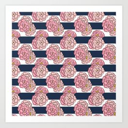 Pink Peony Floral on Navy Blue and White Stripes Art Print