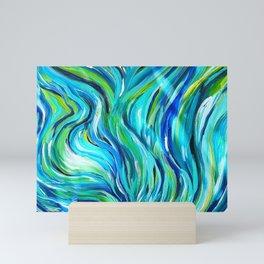 Ocean Abstract Acrylic Painting. Free flow Wave Art. Mini Art Print