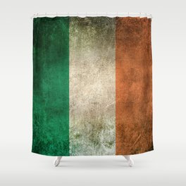 Old and Worn Distressed Vintage Flag of Ireland Shower Curtain