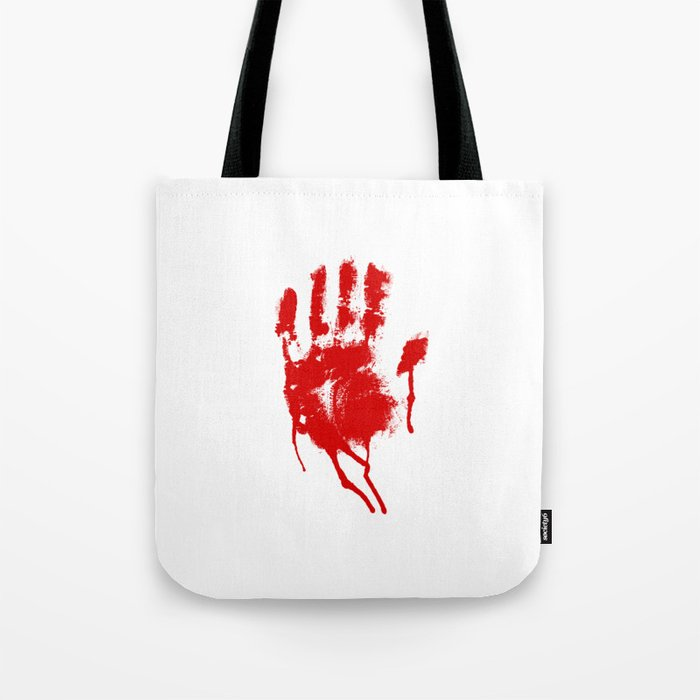 Halloween Bloody Handprint Tote Bag by closeddoor