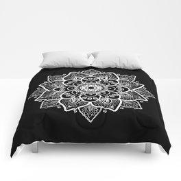 White Mandala On Black Comforters