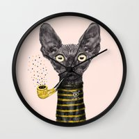 black cat Wall Clocks featuring Black Cat by dogooder
