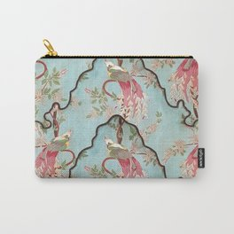 Vintage green coral pink floral elegant peacock bird Carry-All Pouch