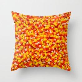 Candy Corn Halloween Candy Photo Pattern Throw Pillow