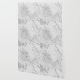 Marble Love Silver Metallic Wallpaper
