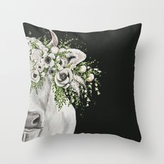 Fancy the Cow Throw Pillow