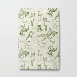 foxy circus green ivory Metal Print